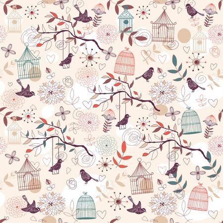 pajaro dibujo: Patr�n de naturaleza con pajareras, plantas, flores y p�jaros. Vector.