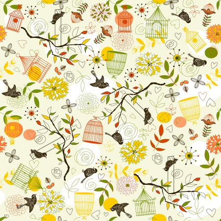 Nature Pattern with birds, birdcages, plants, flowers. Can be used for wallpaper, pattern fills, web page background, surface textures.  Vector