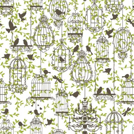 enclosures: Uccelli d'epoca e la raccolta gabbie. Pattern. Wallpaper. Vettoriali