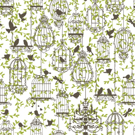 freedom couple: Vintage birds and birdcages collection. Pattern. Wallpaper.