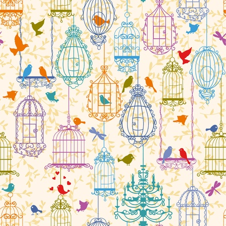 bird cage: Vintage birds and birdcages collection. Pattern. Wallpaper.
