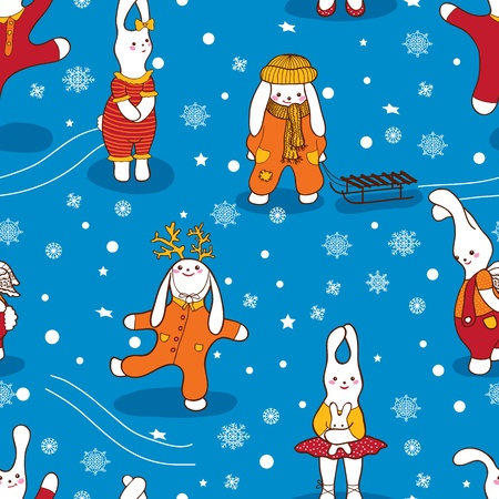 Endless pattern. Bunny, winter. Can be used for wallpaper, pattern fills, web page background, surface textures.  Vector