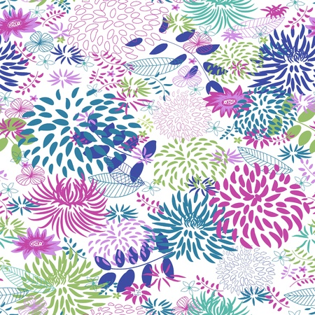 sewing pattern: Abstract Nature Pattern with plants, flowers. Endless pattern can be used for wallpaper, pattern fills, web page background, surface textures.  Illustration