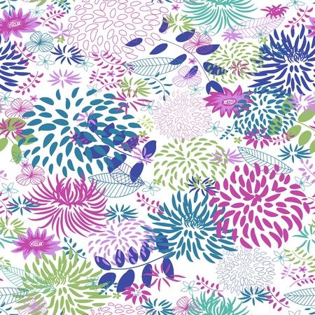 encantador: Abstract Natureza Padrão com plantas, flores. Interminável padrão pode ser usada para papel de parede, suficiências de teste padrão, fundo do Web page, texturas de superfície. Ilustração