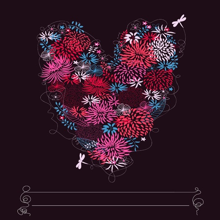 Floral heart shape. Stock Vector - 10941305