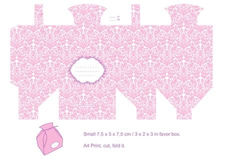 Favor box die cut. Floral classic pattern. Empty label. Pink.