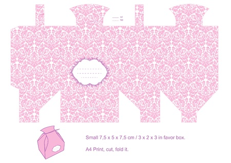 Favor box die cut. Floral classic pattern. Empty label. Pink. Vector