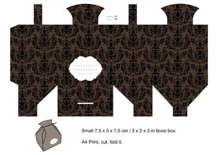 die cut: Favor box die cut. Classic damask pattern. Empty label.