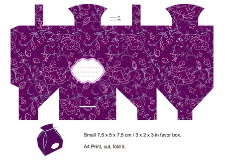 printable: Purple Favor box die cut. Floral pattern. Empty label.