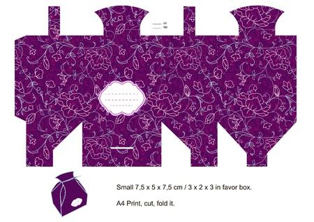 Violet Die Box Favor coupé. Motif floral. Étiquette vide. Vecteurs