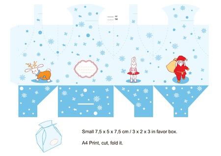 Favor box die cut. Christmas cartoon. Empty label.  Vector