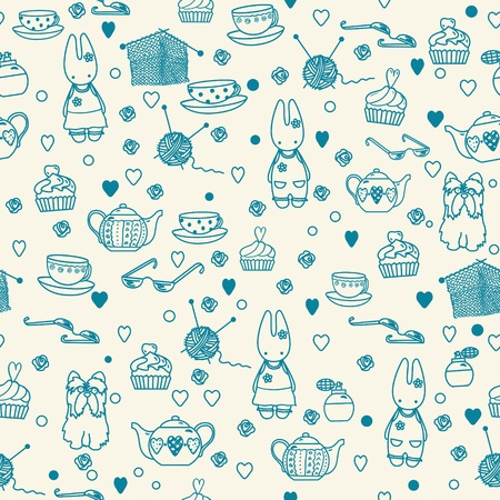 Pastime things; baby bunny, tea pattern. Can be used for wallpaper, pattern fills, web page background, surface textures. 向量圖像