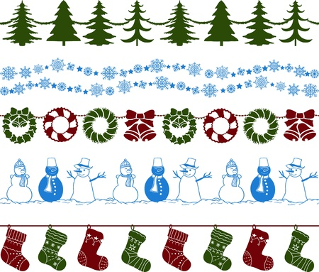 Set of Christmas borders or endless pattern. Vector