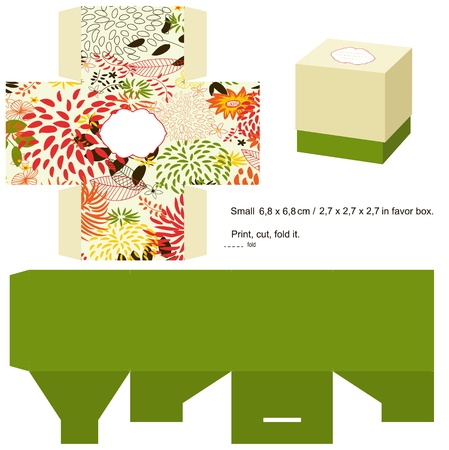 Favor doos gestanst. Bloemmotief. Lege label. Stock Illustratie