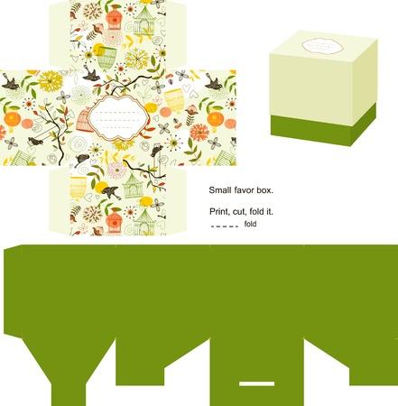 Boîte de faveur découpés. Naturel motif. Étiquette vide.