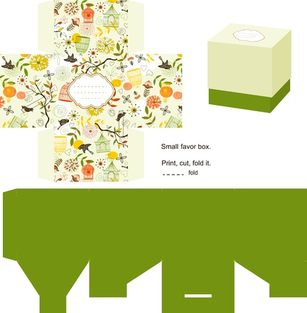 Favor box die cut. Naturel pattern. Empty label.