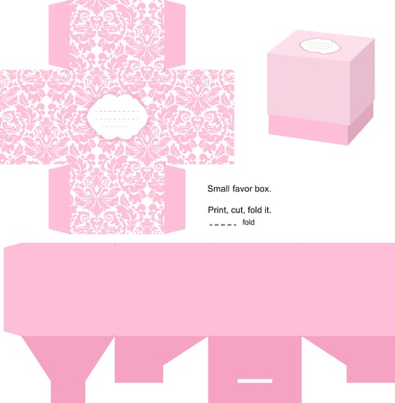 Favor box die cut. Floral classic pattern. Empty label. Pink.