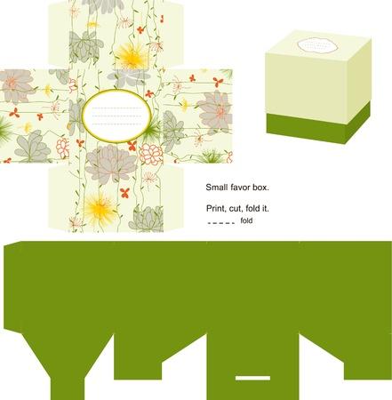 dieline: Favor box die cut. Floral pattern. Empty label.