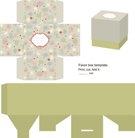 Favor box die cut. Floral pattern. Empty label.  Vector