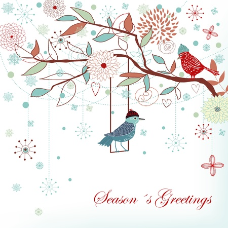 winter card: Seasons greetings background Illustration