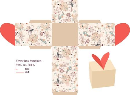gabarit: Bo�te de faveur d�coup�s. Motif floral. �tiquette vide.