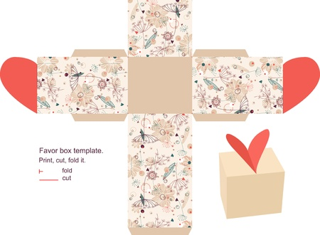 diecut: Favor box die cut. Floral pattern. Empty label.