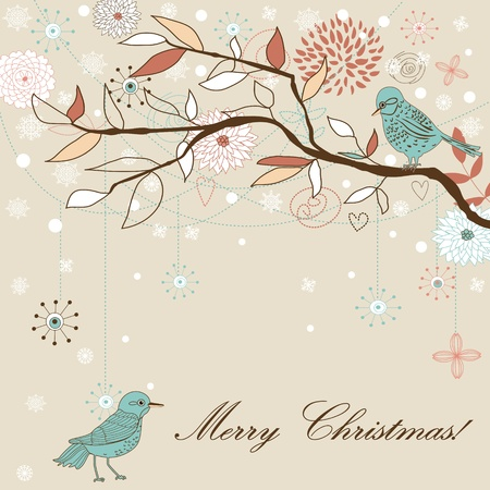 new plant: Seasons greetings background. Christmas card.