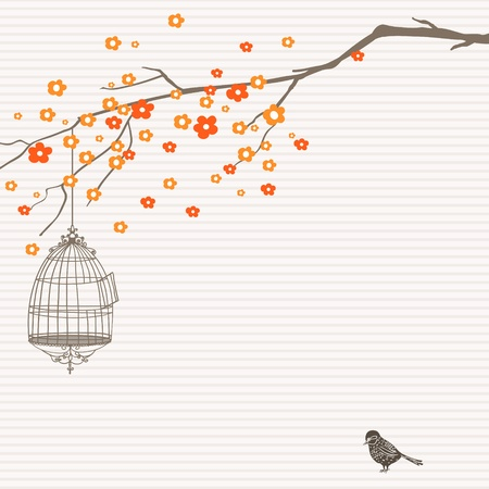 Hand-Drawn nature design with tree, birdcage and bird.