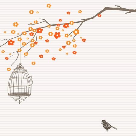 ツリー、鳥かごの鳥と自然の手描きデザイン。