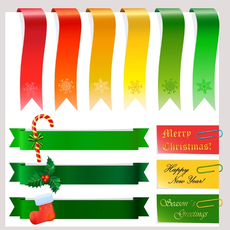 Set of christmas or winter banners on white Vector