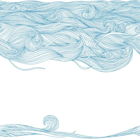 Abstract hand-drawn lines and waves pattern. Blue and white. 向量圖像