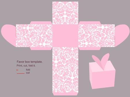 Favor box die cut. Classic victorian pink pattern.  向量圖像