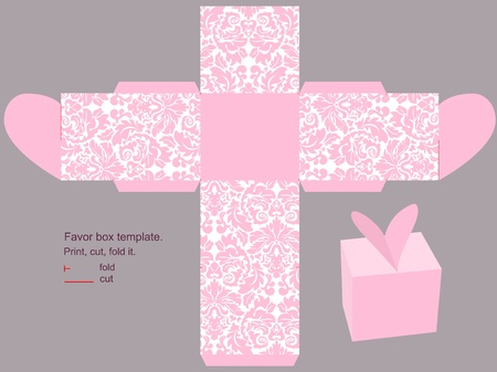 Favor box die cut. Classic victorian pink pattern.  Vector