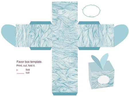Favor box die cut. Waves pattern. Empty label.