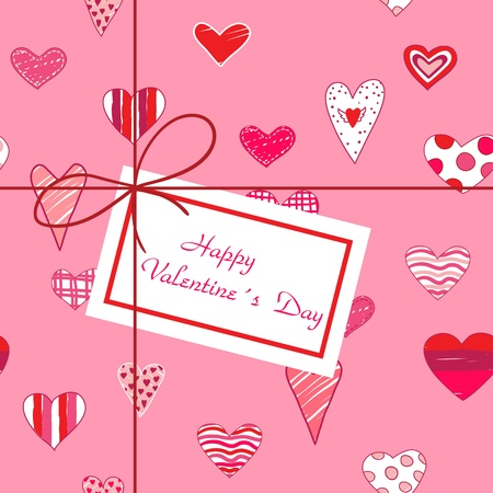 Valentines greening card with hearts and label.