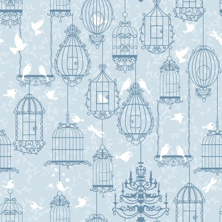 Birds and birdcages pattern. Blue colors. Can be used for wallpaper, background, fabrics. 向量圖像