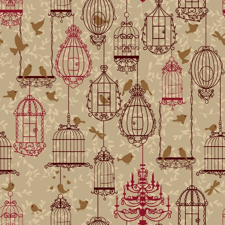 canary: Birds and birdcages pattern. Brown colors. Can be used for wallpaper, background, fabrics.