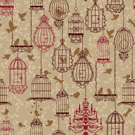 kanarienvogel: Vogelschutz-und Vogelk�fige Muster. Brown Farben. Kann f�r Hintergrund, Hintergrund, Gewebe verwendet werden. Illustration