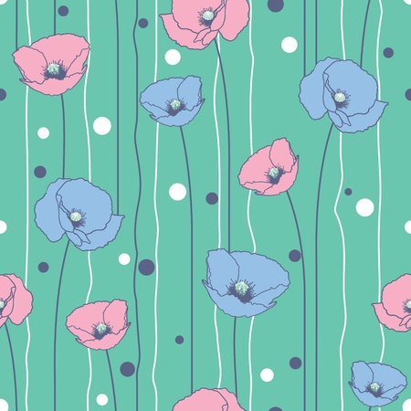 Poppies stripped seamless pattern. Marine, pink, blue.  Vector