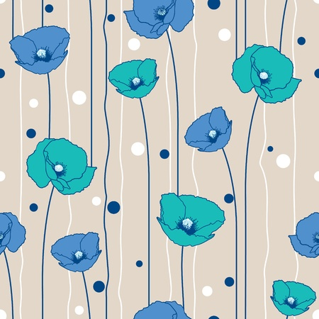 Poppies stripped seamless pattern. Beige, blue, marine.  Vector
