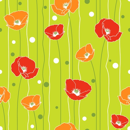 Poppies stripped seamless pattern. Green, orange, red.  Vector