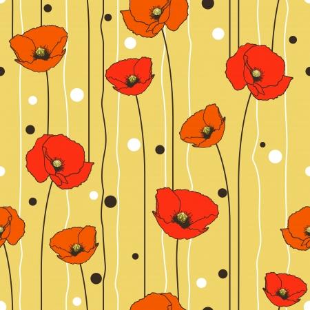 Poppies stripped seamless pattern. Yellow, orange, red, brown. 向量圖像