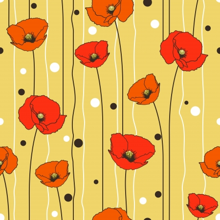 Poppies stripped seamless pattern. Yellow, orange, red, brown.  Vector