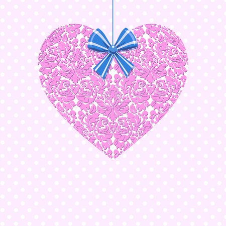Valentines vintage heart. Pink. Classic style card. Damask pattern background Stock Vector - 11945362