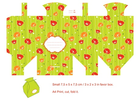 die cut: Favor box die cut. Floral pattern. Empty label.