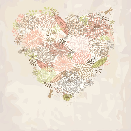 Floral Heart. Easter card. Concept of love.  Vector