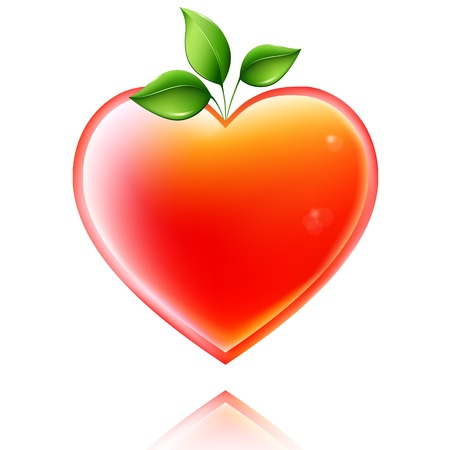 glassed: Styled shiny heart with green leaves. Concept of  growing love. Illustration