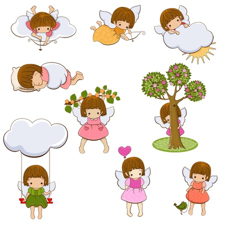 nubes caricatura: Juego de niñas pequeño ángel. Cupidos. Aislado. Vectores