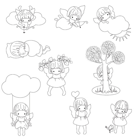 Set of little angel girls. Cupids. Black outline. Isolated.  Vector