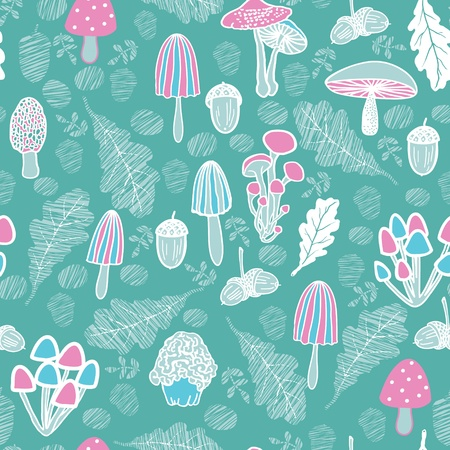 used items: Mushroom seamless pattern. Forest items. Can be used for wallpaper, background, fabrics. Marine, blue, pink colors.  Illustration